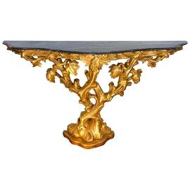 18th C Irish Giltwood Grapevine Form Marble-Top Console