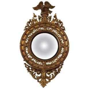 English Regency Giltwood Convex Mirror, 19th Century