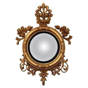 English Regency Gilt Carved Wood Girandole Mirror