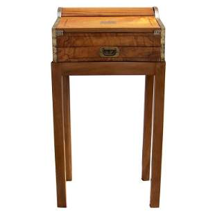 19th C China Trade Roll Top Lap Desk on Stand
