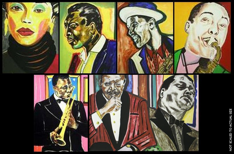 "BROWN, FREDERICK ""JAZZ MUSICIANS""  MATCHING SUITE OF 6"