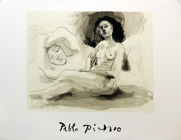 "PICASSO, PABLO ""HOMME COUCHEE ET FEMME ASSISE"""