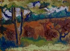African American Artist Clyde Clark Abstract Landscape