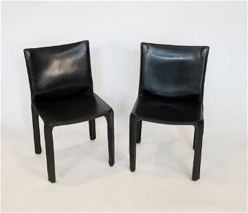 Pair of Cassina Cab Chairs in Black Leather