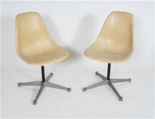 Pair of Eames Fiberglass Swivel Side / Desk Chairs