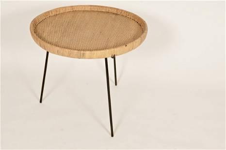 Modernist Rattan & Iron Tray Table