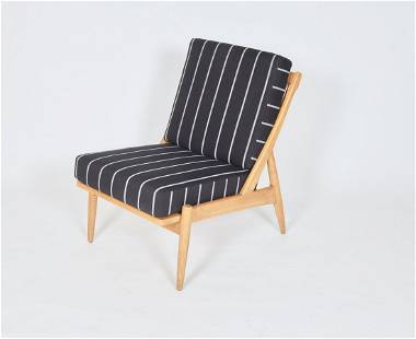 Post-War Modernist Lounge Chair in Striped Fabric