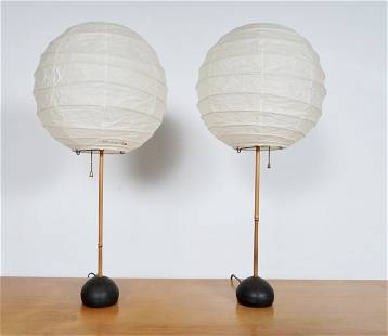Pair of Early Isamu Noguchi Model BB1-30D Table Lamps