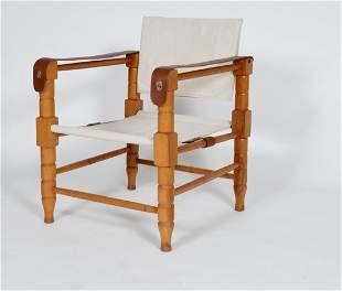 1950s Scandinavian Safari Chair in Leather & Canvas