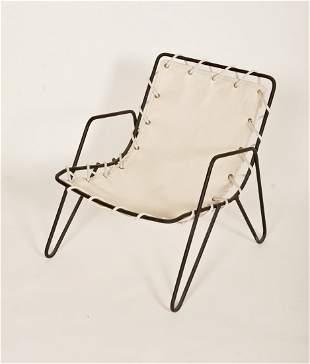 Mid-Century Modern Iron & Canvas Child's Chair