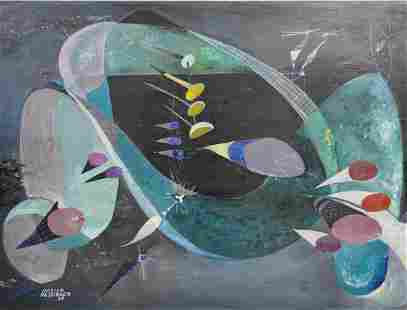 Surrealist Abstract Painting by Marion Messinger 1948