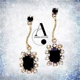 Luxury Earrings - Black Sapphire and Diamond