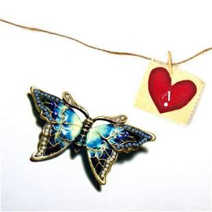 Vintage Brooch: Blue Jeweled Butterfly