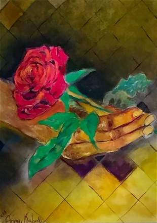 Hand with Red Rose - Original Painting
