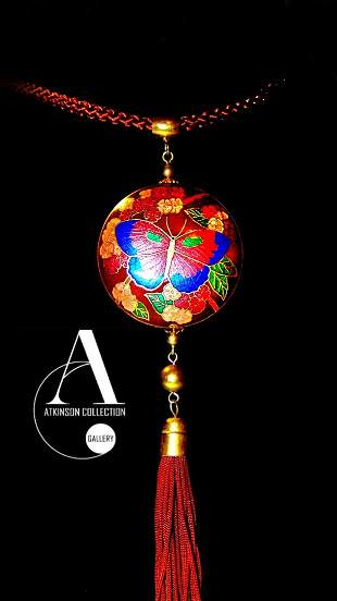 Vintage Necklace - Chinese Cloisonne Enameled Pendant