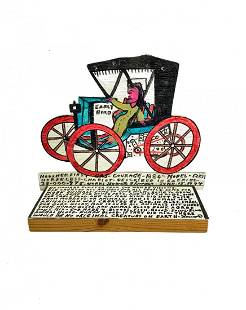 "Howard Finster Folk Art Cutout ""Early Bird"" Wagon Buggy"