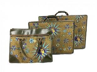 Hartmann Tweed Mid Century Fornasetti 3pc Luggage Set