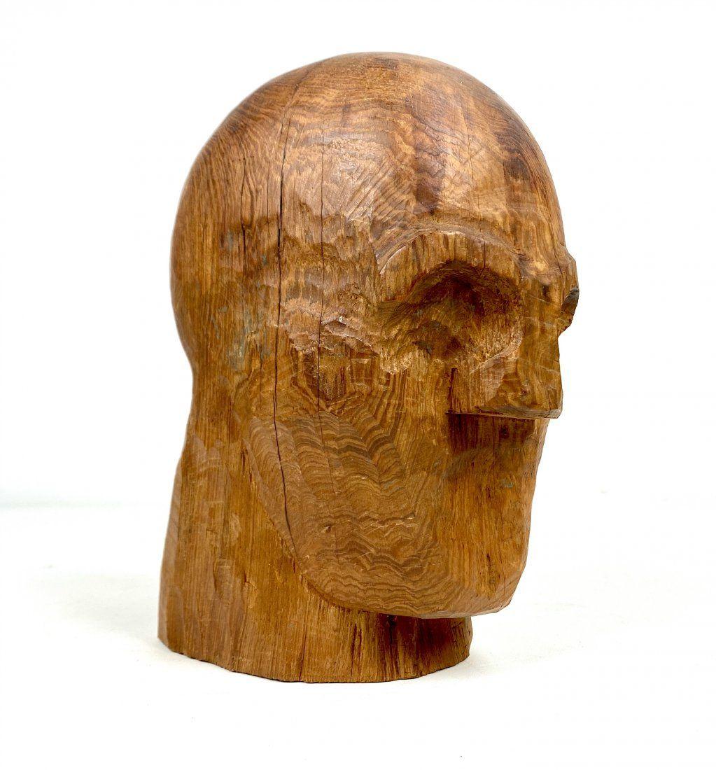 Modernist Folk Art Carved Wood Head