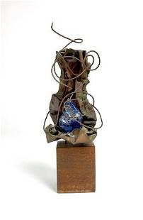 Abstract Brutalist Copper & Glass Sculpture