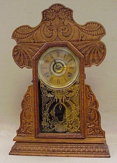"1: Ingraham 8-Day Kitchen Clock-Gingerbread Case, 22"" T"