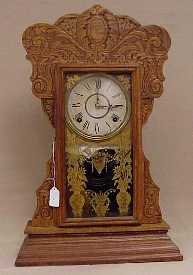 11: Gilbert Clock Co. Kitchen Clock-Gingerbread Case