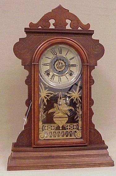 16: Antique Walnut Kitchen Clock-Gingerbread Case