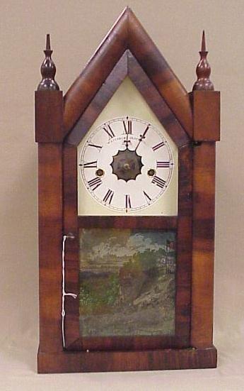 "18: Steeple Clock, Waterbury 8-Day, 30 Hour, 20"" Tall,"