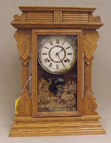 19: Gothic Design-Ansonia Clock Co., Kitchen Clock-Oak