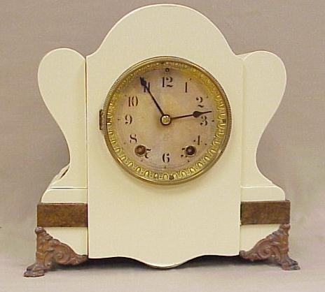 23: Seth Thomas Mantle Clock, Painted White Case