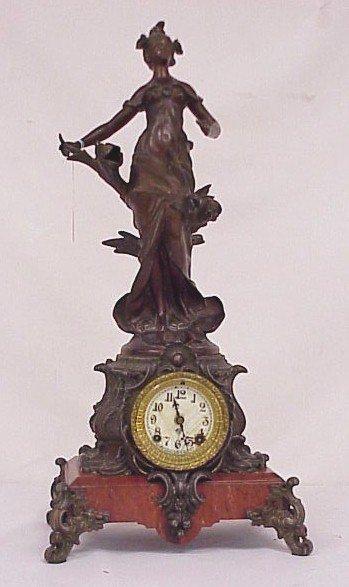 "167: Ansonia Marble Figural Clock-24"" Tall, 11"" W"