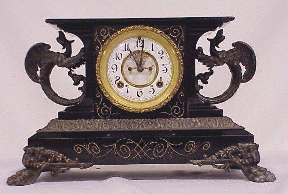 172: Ansonia Iron Mantle Clock-Flying Dragons-Pat. 1881