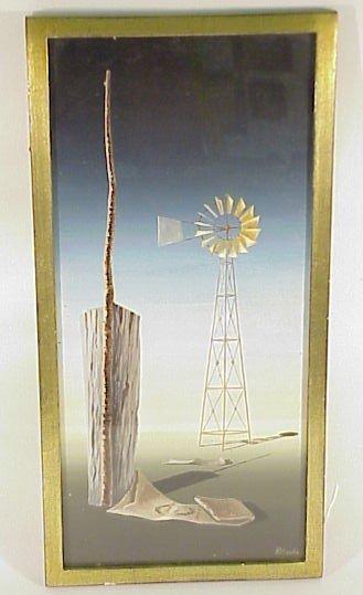 214: Framed Original Art Norman C Black-Windmill
