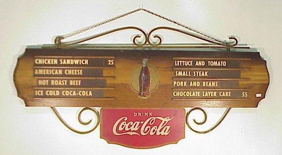 222: Early Coca Cola Menu Board w/ Letters