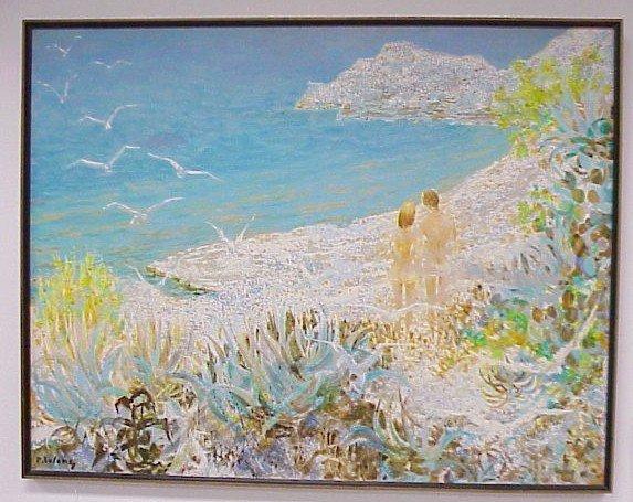 """224: Oil on Canvas-Pierre LeLong, """"Les Amoureux Sur"""""""