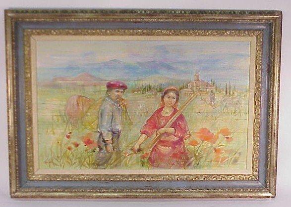 """225: Lovely Oil on Silk-Sgn. Edna Hibel """"In the Fields"""""""