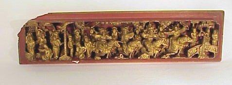 227: Early Oriental Wood Carving Panel Battle Scene