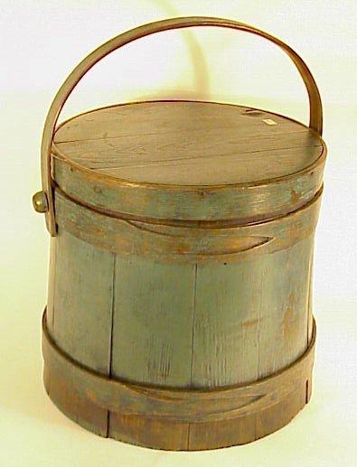"230: Early Firkin-Sugar Bucket-Painted-12"""