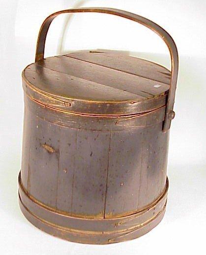 "231: Early Firkin-Sugar Bucket-Painted-14"""