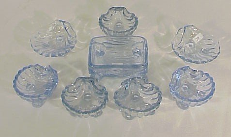232: 8 Assorted Blue Caprice Salt Dips