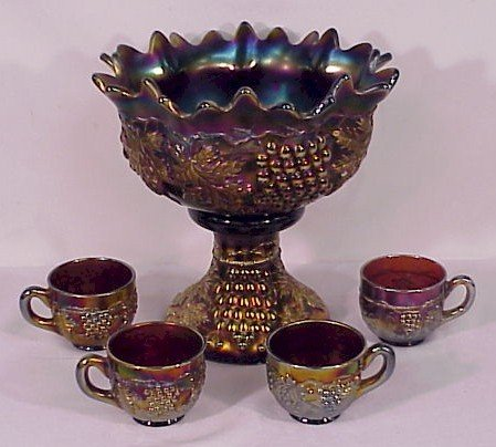 310: Carnival Glass Northwoods Grape & Cable Punch Set