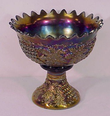 314: Carnival Glass Northwood Grape & Cable Punch Bowl