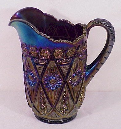 321: Carnival Glass Imperial Diamond Lace Water Pitcher