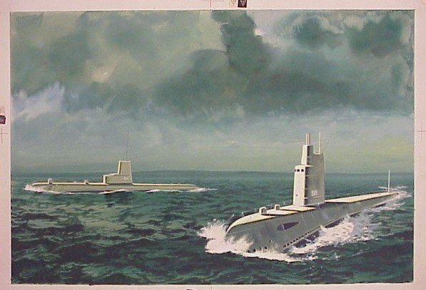 707: Original Art Watercolor-Submarines