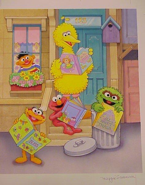 725: Original Art Watercolor Sesame Street