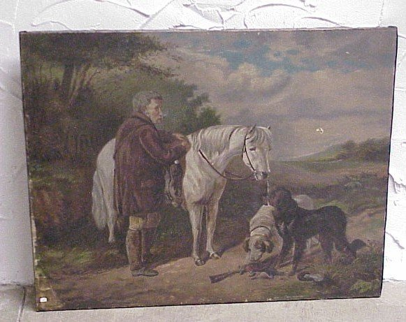 202: Oil on Canvas, signed M.L. Weyant-Hunt Scene