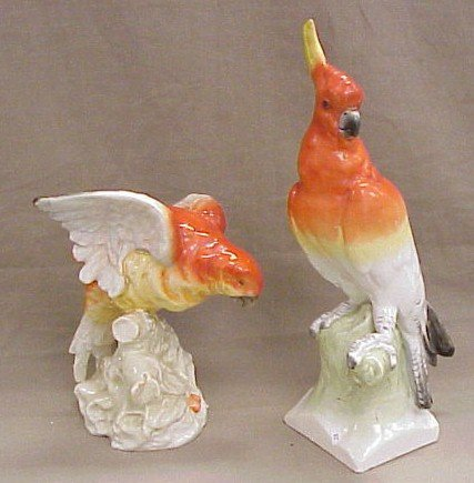 312: Pair of Czechoslovakia Parrot Statues