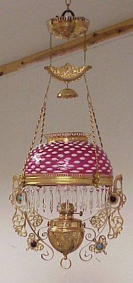 352: Cranberry Opalescent Hanging Oil Lamp