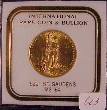 603: 1927 $20 St. Gauden's Gold Coin