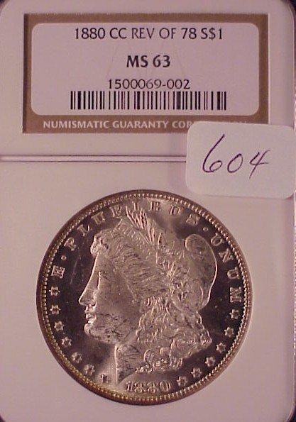 604: 1880 C.C./Rev of 78 Morgan Silver Dollar