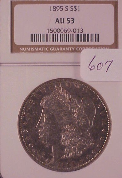 607: 1895-S Morgan Silver Dollar-AU 53